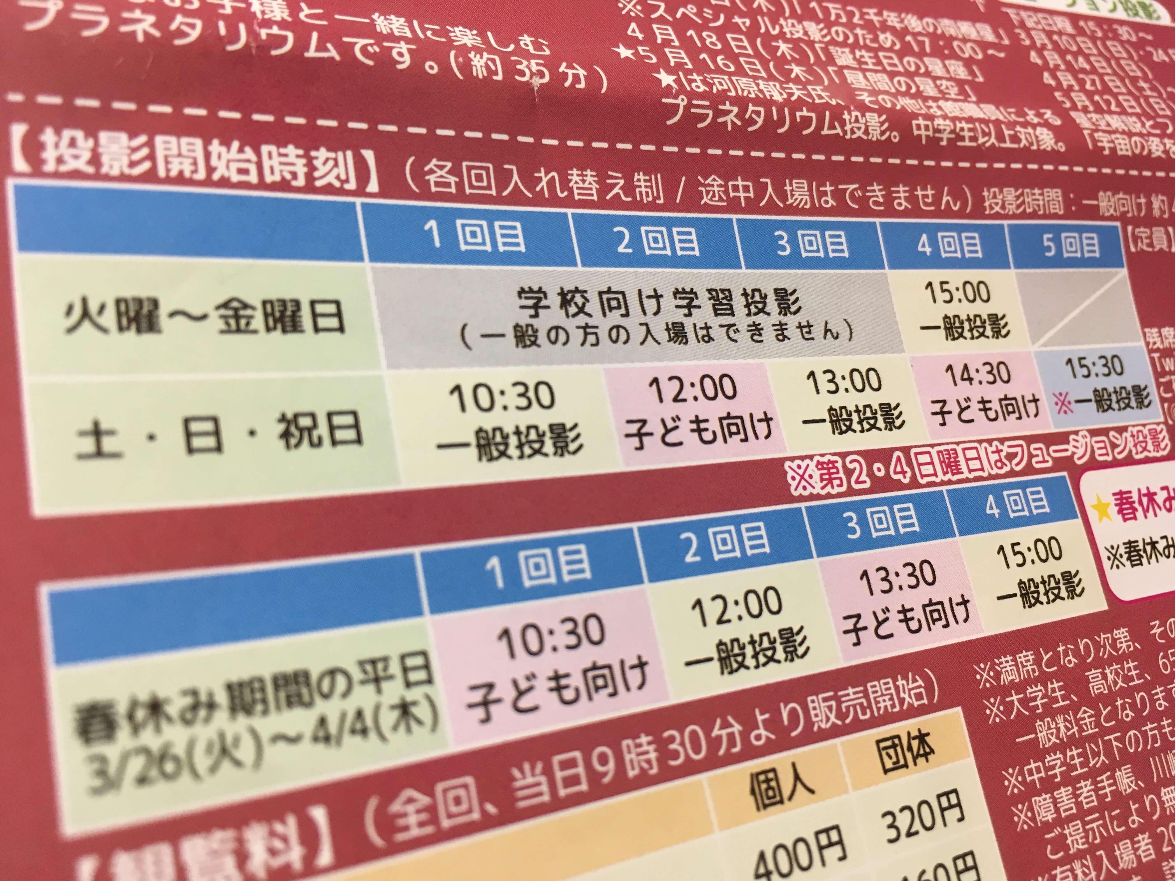 生田緑地 プラネタリウム 番組